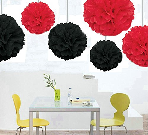 Zorpia® Zorpia® Mixed 8inch 10inch 14inch Sizes New design DIY Tissue Paper Pom-poms Flower Ball Hanging decoration pom poms Flower Ball Wedding Party Outdoor Decoration / Tissue Paper Flower Ball Pom-poms For Birthday Party Baby Room Nursery Decoration - Pom Poms Ball Blooms Tissue Paper Flowers - Celebration Party Hotel House Room Wedding Decoration - Vintage Hanging Lantern Party / Wedding / Home (12 Pack  Red and black)