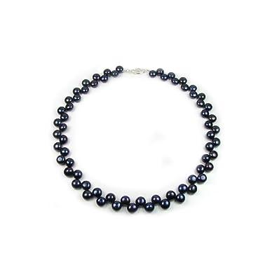 8de91f5c47e4 Blue Pearls Collar de Perlas Negras y de Plata 925 - BPS 0162  Amazon.es   Joyería
