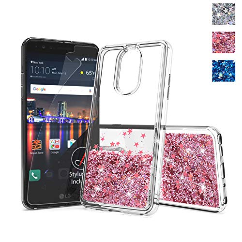 for lg stylo 4 Plus Phone case,stylo 4 Glitter case,DDTKZC Sparkle The Liquid TPU is Clear Case for LG Qstylus Phone case 2018 (Rose Gold)