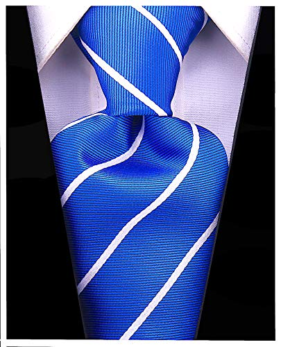 Pencil Stripe Ties for Men - Woven Necktie - Navy Blue w/White