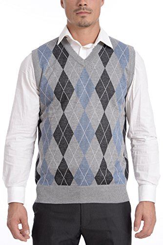 TR Fashion Men's Soft Stretch Argyle V-Neck Casual Pullover Vest (Grey/Blue, -