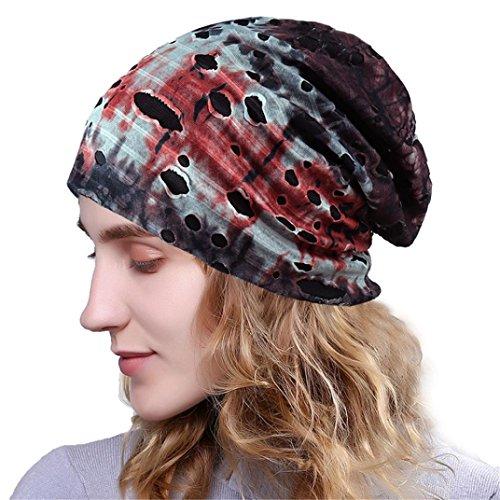 Womens Head Scarf, India Muslim Scarf Hat Lightweight Stretch Turban Hat Lace Floral Print Hair Wrap Headwear (Red 002)