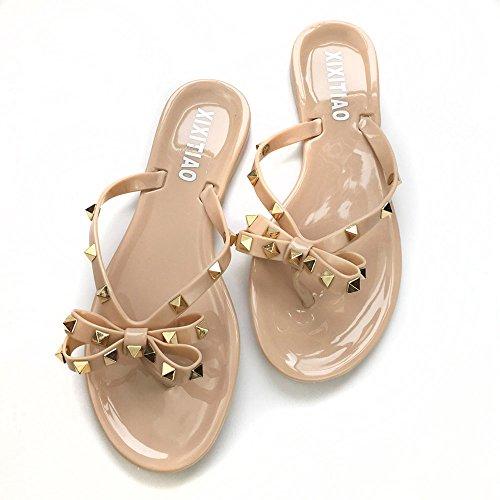 Women Studs Flat Flip-Flops Beach Rain Waterproof Thong Jelly Shoes Nude