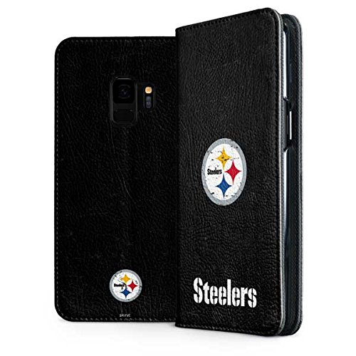 Skinit Pittsburgh Steelers Distressed Galaxy S9 Folio Case - Officially Licensed NFL Phone Case Folio - Faux-Leather Wallet Galaxy S9 Cover ()