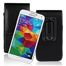 Kingsource (TM) Samsung Galaxy S5 Black Vertical Leather Pouch Belt Clip Holster Carrying Case with Belt loop Fits With Otterbox Case / SGP Amor/UAG/Lifeproof Case / Thick Armor Hybrid Case On (Samsung Galaxy S5)
