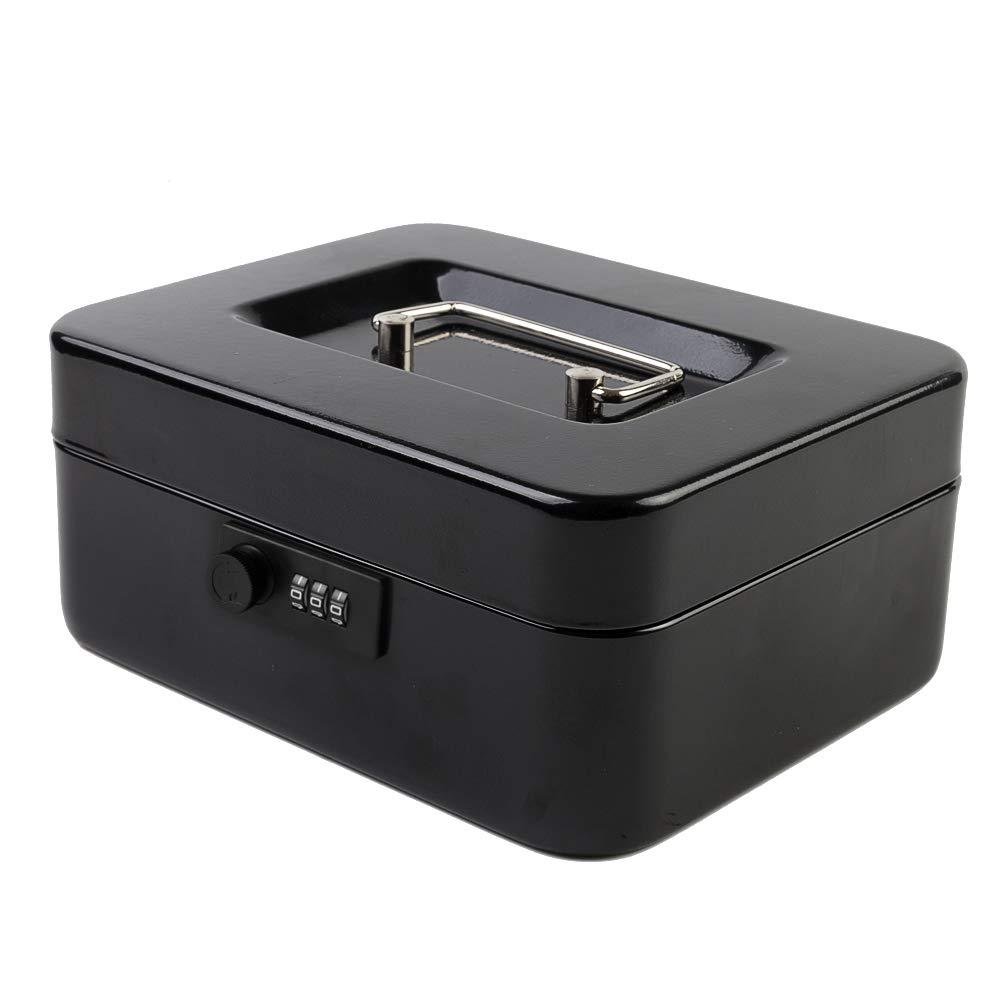 "Kyodoled Medium Cash Box with Combination Lock Safe Metal Money Box with Money Tray for Security Lock Box 7.87""x 6.30""x 3.54"" Black Mdeium"