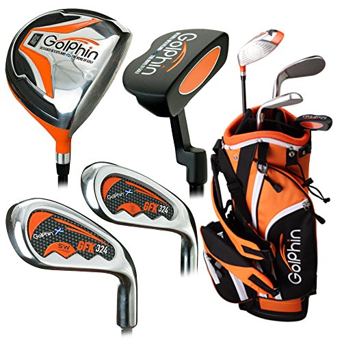 "Golphin Kids Package Golf Club Set, Right Hand, 39""- 43.5"", Orange"