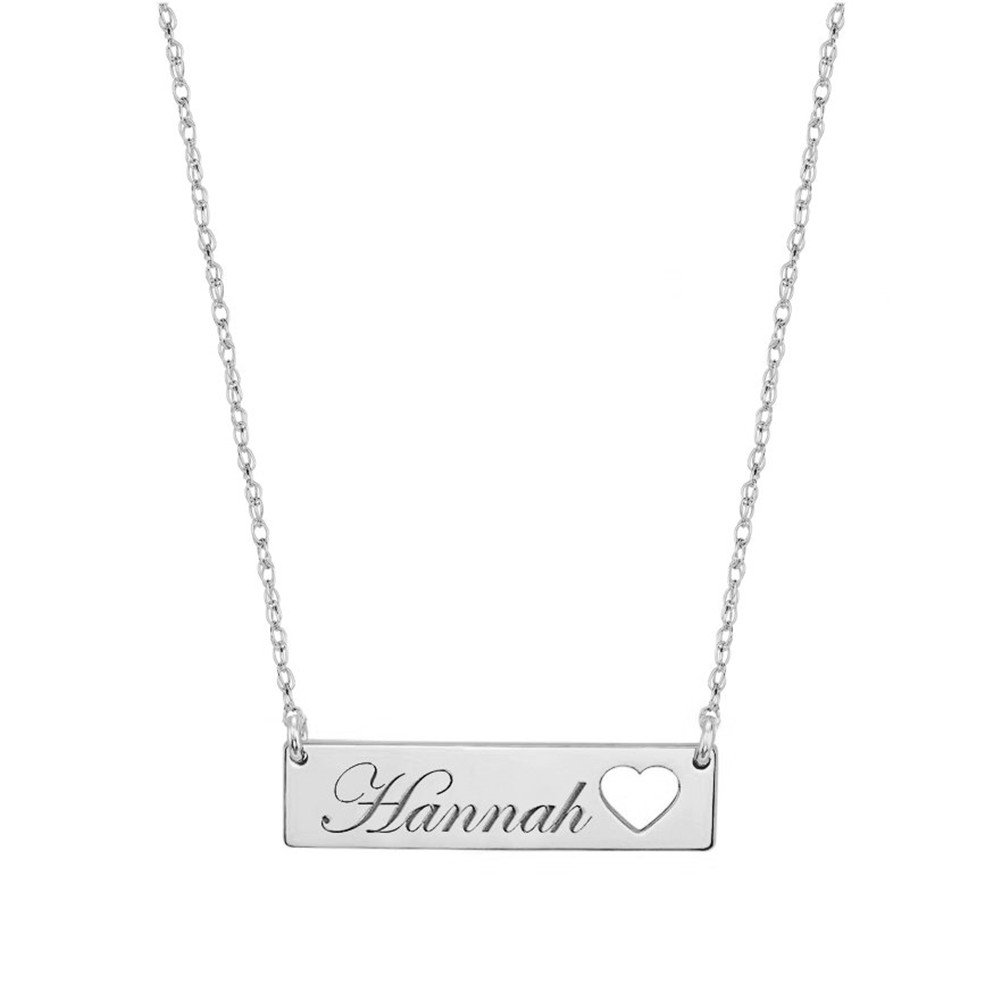 FUJIN Personalized 925 Sterling Silver Bar Pendant Necklace with Heart Custom Made with Any Name (Silver)