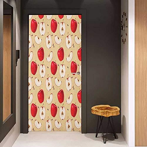 Onefzc Door Wall Sticker Apple Fresh Apple Slices with Seeded Backdrop Pie Ingredients Vegetarian Way of Life Mural Wallpaper W23 x H70 Cream Red Beige