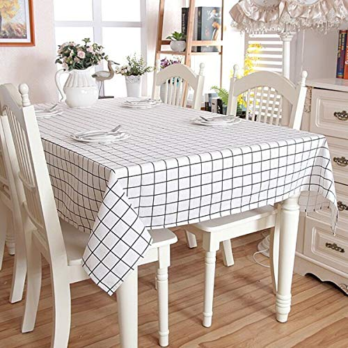 (ICBAL Black White Table Cloth Kitchen Dining Outdoor Table Décor Rectangle Cotton Linen Fabric Tablecloths for Parties White 55