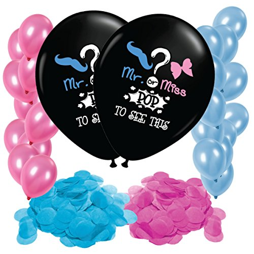 Gender Reveal Balloon Confetti Decoration - 2x Jumbo 36inch Balloons - Great for Baby Shower and Gender Reveal Party Supplies - Includes PINK and BLUE Confetti - 10 Blue and 10 Pink 12inch balloons
