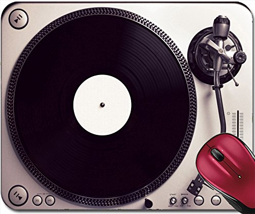 Price comparison product image Liili Mousepad Old good looking turntable playing a track from black vinyl Top view vintage cross processing 29283613