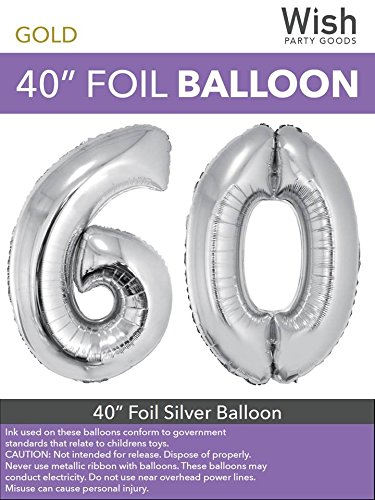 (Wish Party Goods Extra Large Giant Jumbo 40 inch Silver Color High Quality Mylar Foil Number Balloons - Special Milestone Birthday/Anniversary/Wedding Party Event Decorations (60))