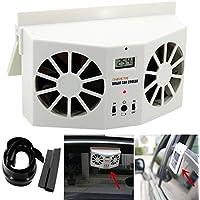 Car Fan ( MADE IN CHINA ), Hometom Solar Powered Car Window Air Vent Ventilator Mini Air Conditioner Cool Fan (White)