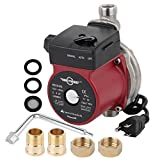 BOKYWOX 110V Hot Water Circulating Pump 3/4''120W Circulation Water Pump for Solar System(Stainless Steel red)