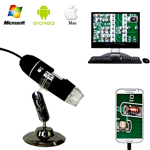 Jiusion 40 to 1000x Magnification Endoscope, 2MP 8 LED USB 2.0 Digital Microscope, Mini Camera with OTG Adapter and Metal Stand, Compatible with Mac Window 7 8 10 Android
