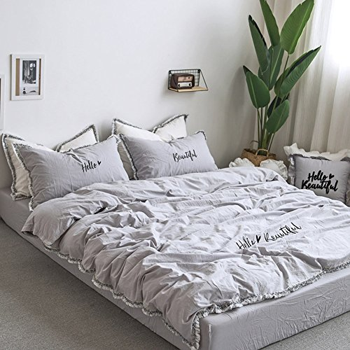 Fringe Bedding Sets Grey - MeMoreCool 100% Cotton Embroidery Princess Room Home Textiles Duvet Cover and Flat Sheet Twin Girls Gifts