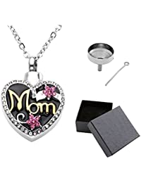 Free Engraving - Personalized Custom Stainless Steel Mom in Heart Cremation Necklace Ashes Urn Memorial Pendant Jewelry with Filler Kit and Box