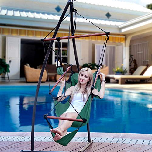 Lazy Daze Hammocks Cushioned Hanging Chair with Cup Holder,Footrest &Hardware for Patio Garden Outdoor Indoor, Capacity 350 lbs (Green)