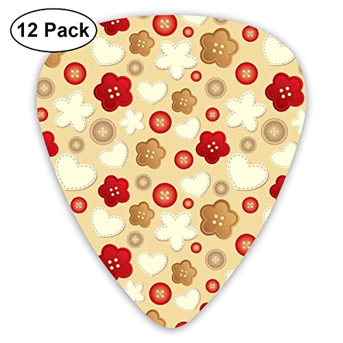Celluloid Guitar Picks - 12 Pack,Abstract Art Colorful Designs,Cute Illustration Of Hearts Buttons And Flowers Feminine Playful Modern Art Deco,For Bass Electric & Acoustic Guitars.