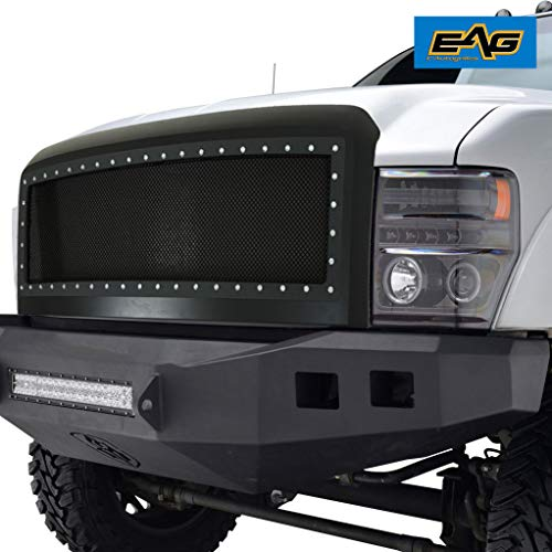 EAG Black SS Wire Mesh Packaged W/Chrome Rivet Fit for 08-10 Ford Super Duty F-250/F-350