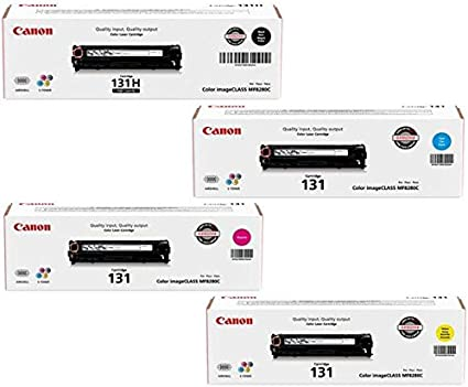 Magenta and Yellow Standard Yield Cyan Genuine Canon CRG-131 Toner 4-Pack w// High Yield Black