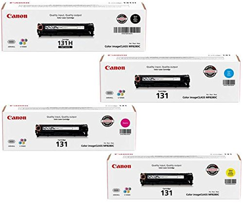 Genuine Canon CRG-131 Toner 4-Pack w/ High Yield Black, Standard Yield Cyan, Magenta and Yellow ()
