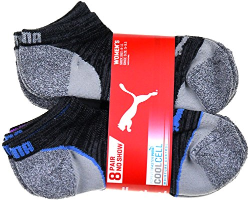 Puma CoolCell 8 Pair No Show Womens Socks, Gray (Sock size: 9-11, Shoe size: 5-9.5) (Puma Socks Women Cushion)