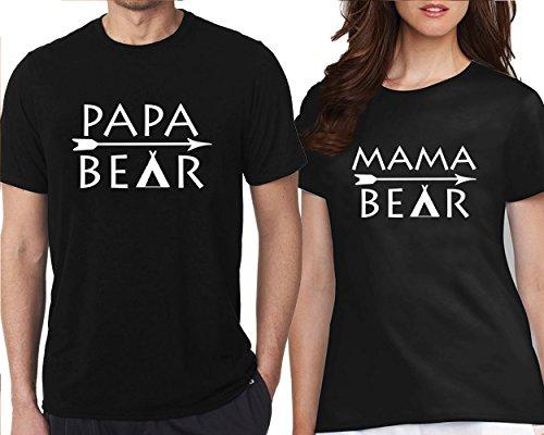 CRAZYDAISYWORLD Papa Bear Mama Bear Arrow Couple T-Shirts Men L - Women S by CRAZYDAISYWORLD
