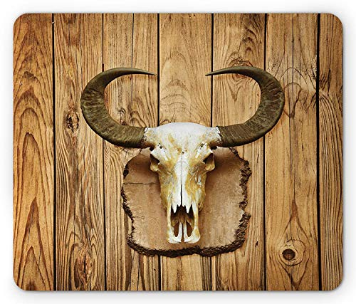 Western Mouse Pad, Buffalo Bull Skull with Horns Hanging on Rustic Wooden Plank Image Print, Standard Size Rectangle Non-Slip Rubber Mousepad, Pale Brown and Ivory ()