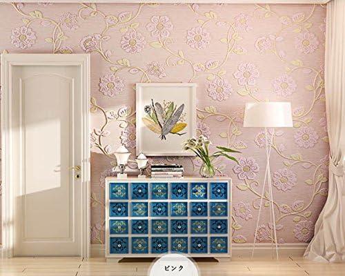 SMILE のり付き 壁紙 はがせる 3D 立体 壁紙 オシャレ 花柄 粘着シール ウォールステッカー ベッドルーム リビングルーム テレビの背景 53cmx5m (ライトイエロー)