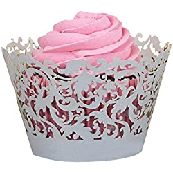 Wensltd 50pc New! Little Vine Lace Laser Cut Cupcake Wrapper Liner(pack of 50) (Gray)
