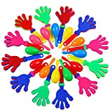 Ruisita 12 Pieces Hand Clappers 12 Pieces Neon Maracas Shakers Plastic Noisemaker Noise Makers for Mexican Fiesta Party Favors Classroom Musical Instrument
