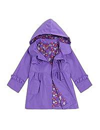Leoneva Baby Girls Flower Waterproof Hooded Lightweight Jacket Outwear Raincoat