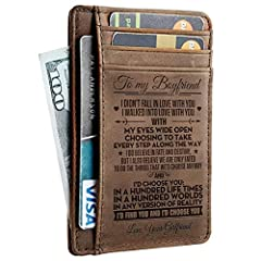 Get your BOYFRIEND something special!        Also make a Great Birthday, Valentines Gift.       The message is laser engraved on the inside of the wallet so it will last forever.       This wallet will make the perfect gift for your BO...