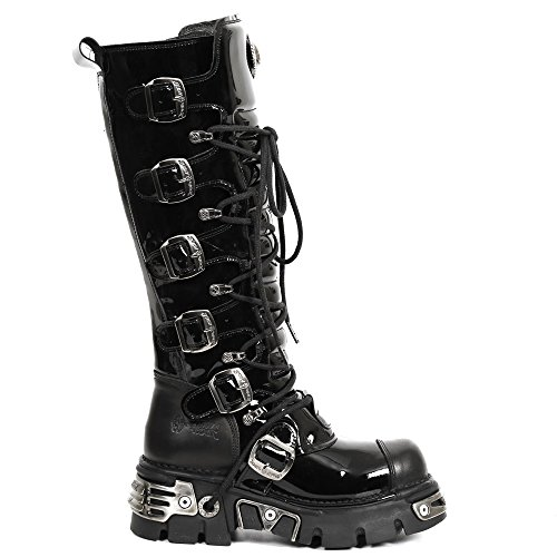 Size New Leather Women M 45 S6 Black Stock Ready Metallic Men Rock 314 AqAwCxTPB