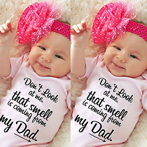 ❤️Baby Girl Clothes,0-24 Months Baby Boy Girls Letter Printed Ha Yi Romper Short Sleeve Jumpsuit Clothes Pink by AOmahh-Rompers (Image #1)