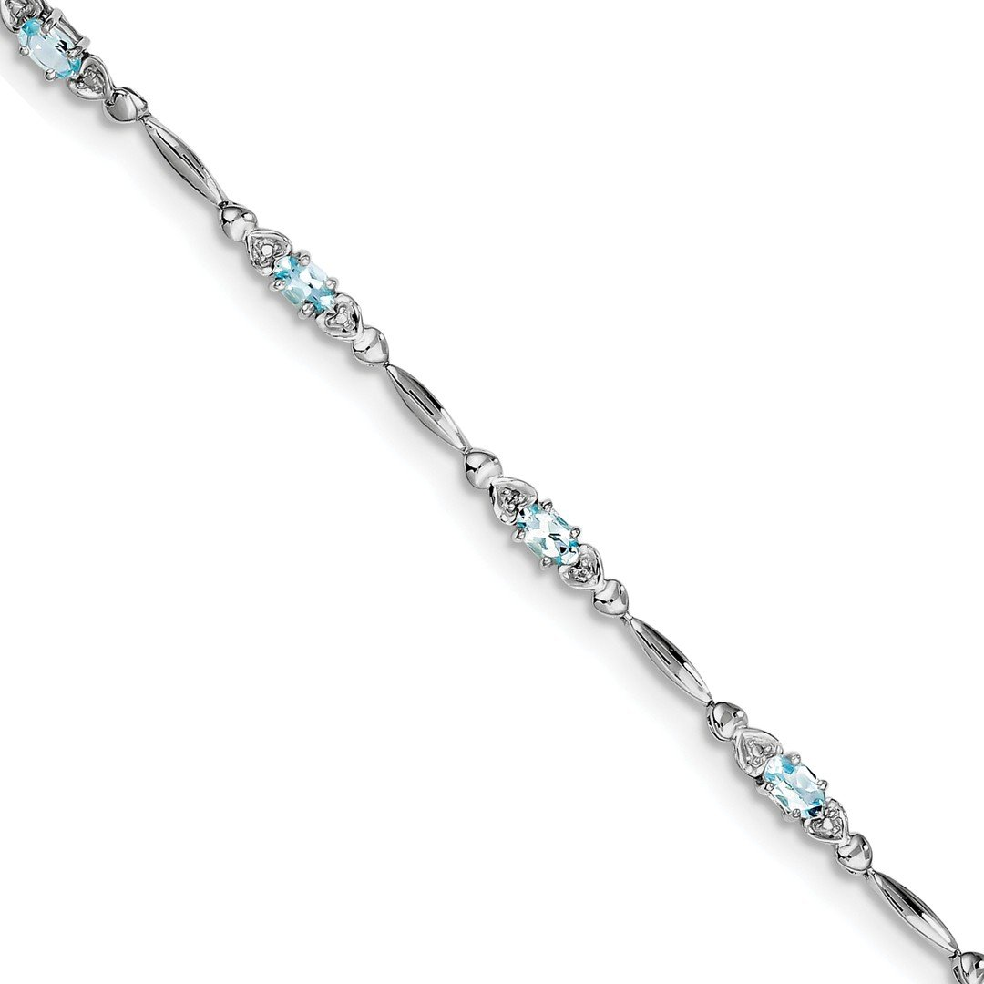 ICE CARATS 925 Sterling Silver Blue Aquamarine Diamond Bracelet 7 Inch /love Gemstone Fine Jewelry Gift Set For Women Heart