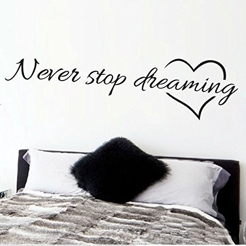 FairyTeller Never Stop Dreaming Inspirational Quotes Wall Art Bedroom Decorative Stickers 8567. Diy Home Decals Mural Art Poster Vinyl Paper