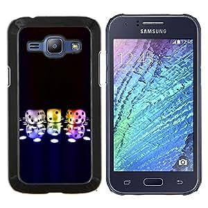 Cubierta protectora del caso de Shell Plástico || Samsung Galaxy J1 J100 || Números Dice Game Neon Disco Bling Poker @XPTECH