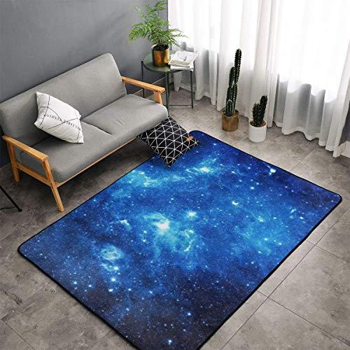 Blue Galaxy Area Rug, Bedroom Living Room Kitchen Rug, Doormat Floor Mat Standing Mat, Children Play Rug Carpet Bathroom Rug Mat, Throw Rugs Carpet Yoga Mat from LIN.