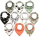 10-Pack Bandana Bibs Little Munchkins Handkerchief Bibs, Baby Drool Bibdanas, Organic Cotton, Super Absorbent, 10 Stylish Designs for Baby Boys Girls Toddler, Adjustable Snaps