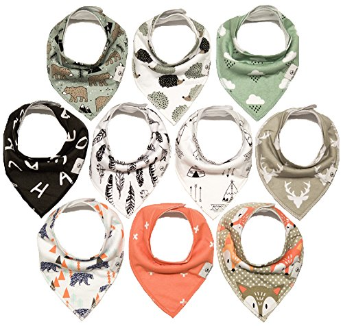 Little Munchkins 10 Pack Woodland Baby Bandana Drool Bibs for Boys, Unisex - Organic Cotton - Absorbent - Soft- Teething Drool Bibs Set ()