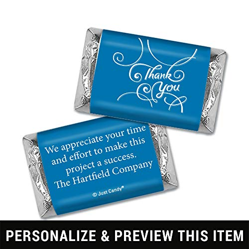 Thank You Personalized Hershey's Miniatures Wrappers - Scroll (100 Wrappers) Royal -