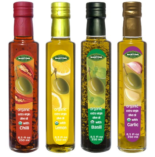 (Mantova Flavored Extra Virgin Olive Oil Variety Pack: Garlic, Basil, Chili, Lemon Organic Extra Virgin Olive Oil, 8.5-Ounce Per Bottle (Pack of 4) Great Gift Item)