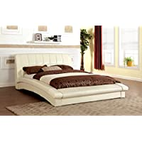 Furniture of America Marilyn Leatherette Platform Bed, Queen, Ivory