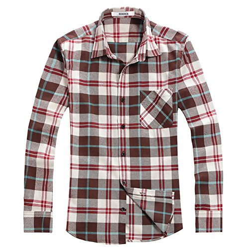OCHENTA Men's Button Down Plaid Flannel Shirt, Long Sleeve Casual Tops N010 Coffee White Asian L - US S ()