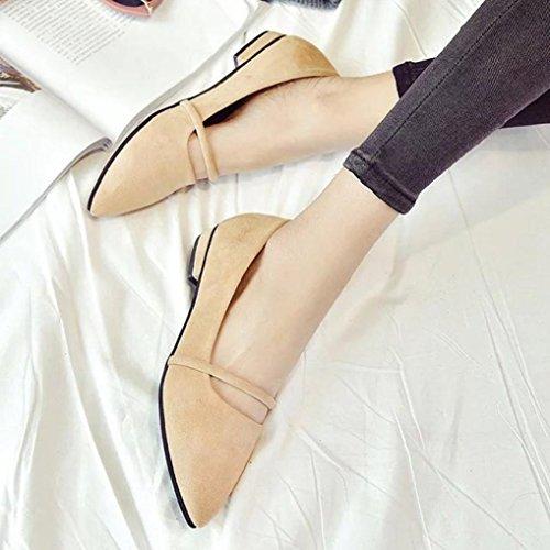 bescita Mode Frauen Lässig Bequeme Spitzen Zehen Rubber Frauen Flache Schuh Wohnungen (39, Khaki)