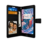 FOSO(™) OnePlus 3 High Quality PU Leather Magnetic Flip Cover Wallet Case For OnePlus 3T / One Plus 3 (Black)