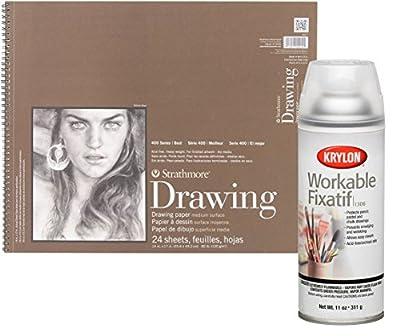 Strathmore Medium Drawing Spiral Paper Pad and Krylon Workable Fixatif Spray